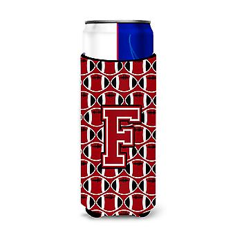 Letter F Football Red, Black and White Ultra Beverage Insulators for slim cans
