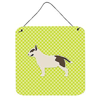 Bull Terrier Checkerboard Green Wall or Door Hanging Prints