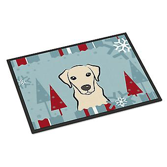 Winter Holiday Yellow Labrador Indoor or Outdoor Mat 24x36