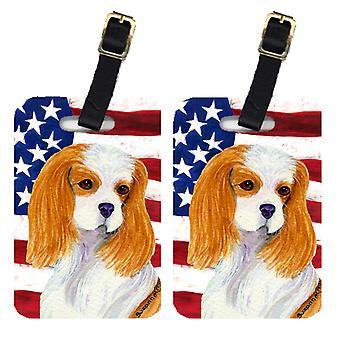 Par af USA amerikanske Flag med Cavalier Spaniel bagage Tags