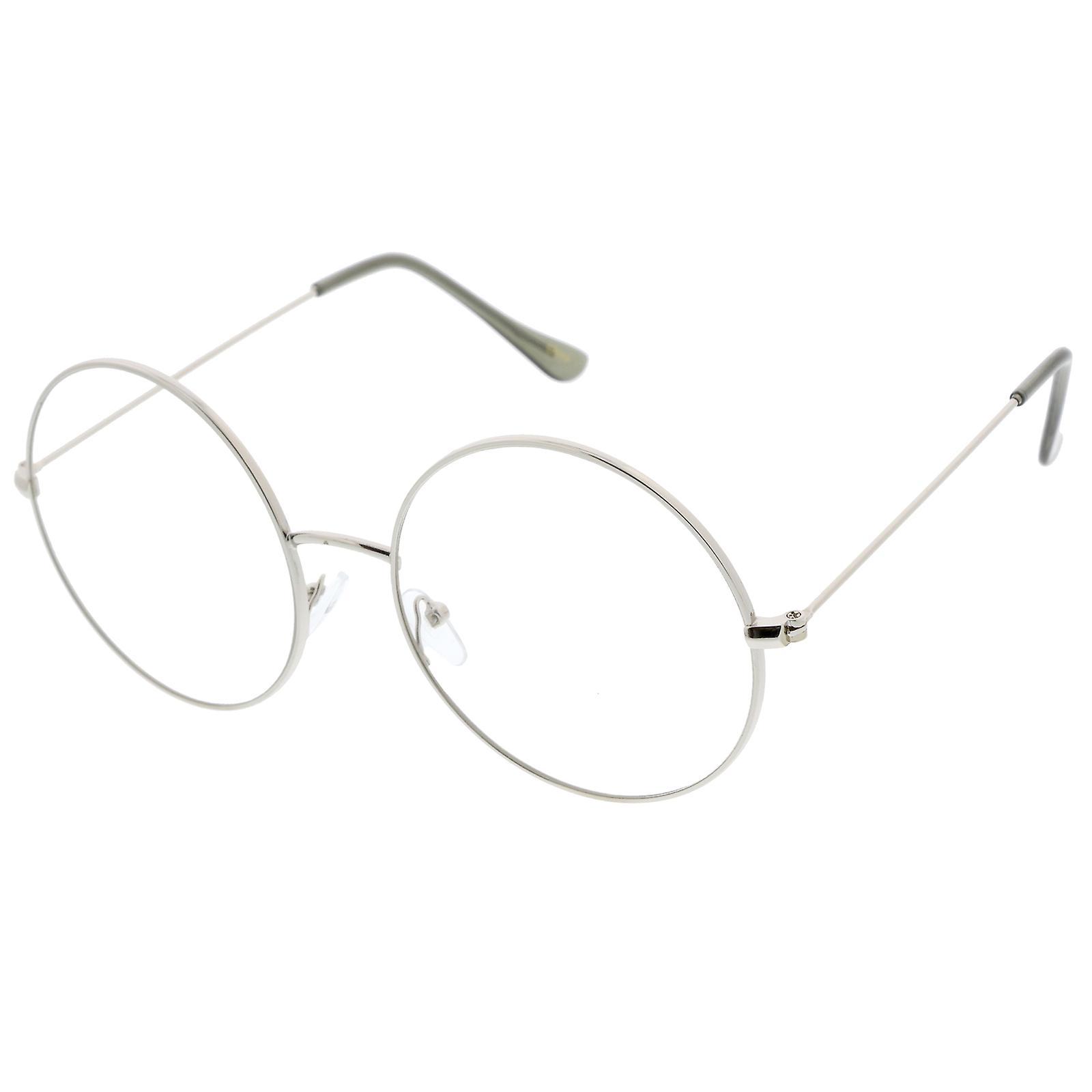fc15695877 Classic Oversize Slim Metal Frame Clear Flat Lens Round Eyeglasses 56mm
