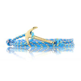 Vikings anchor bracelet fashion jewelry light blue with Golden anchor lock