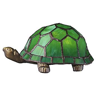 Beautifully Hand Crafted Green Glass Tortoise Tiffany Lamp