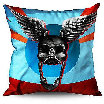 Angel Skeleton Dead Skull Linen Cushion Angel Skeleton Dead Skull | Wellcoda