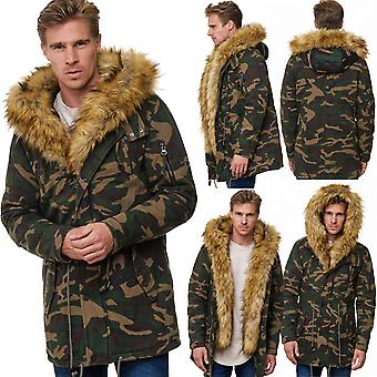 Men's parka camouflage winter jacket fur lined hood hot Army military ONE PUBLIC