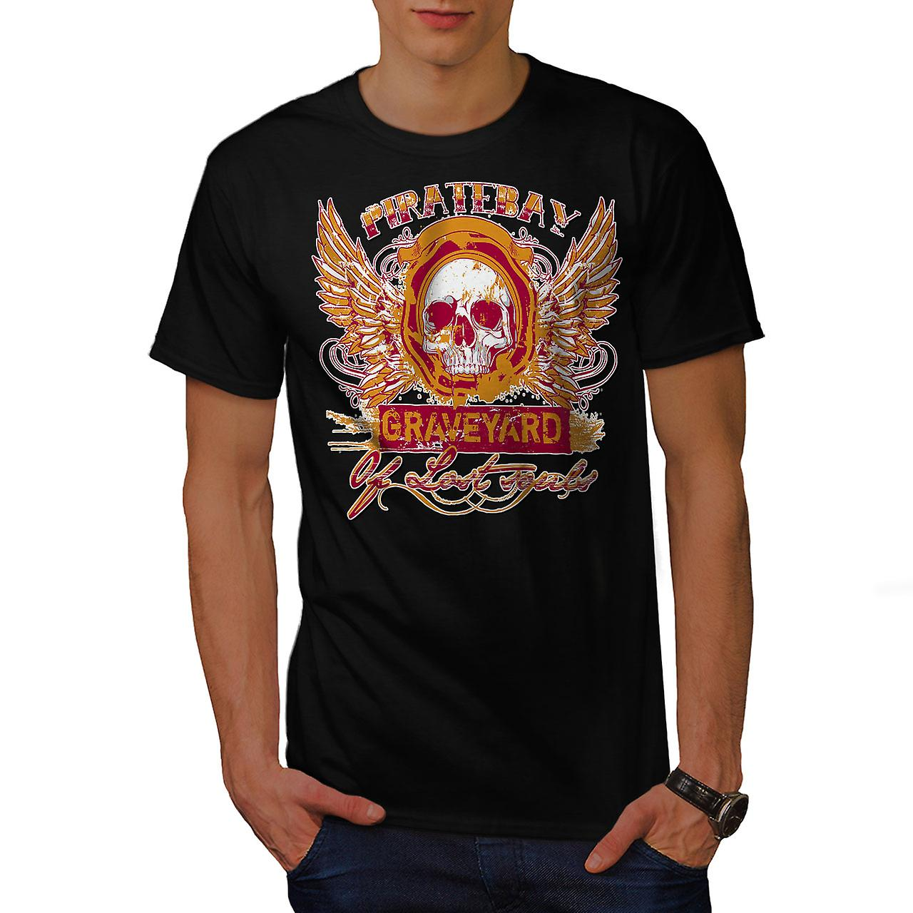 Piratebay Graveyard Skull Men Black T-shirt | Wellcoda