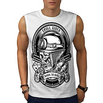 Rider Biker Gun Skull Men WhiteSleeveless T-shirt | Wellcoda