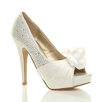 Ajvani womens evening wedding prom party flower diamante high heel platform peep toe shoes sandals pumps