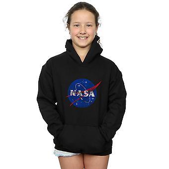 NASA Mädchen klassische Insignia Logo Distressed Hoodie