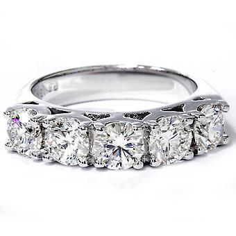 3 3/4 ct 5 - 石ラボ作成結婚式の指輪 14 K ホワイトゴールド ダイヤモンド