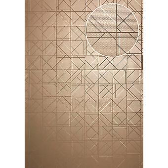 Graphic wallpaper ATLAS XPL-591-9 non-woven wallpaper structures with geometric shapes m2 shiny beige grey beige grey beige beige Brown-5.33