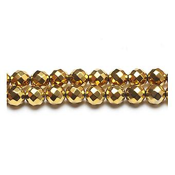 Strand 45+ Golden Hematite (Non Magnetic) 8mm Faceted Round Beads GS15391-4