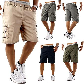 Mens Cargo Shorts Bermuda 3/4 Leisure Capri Trousers Vintage Casual Pockets