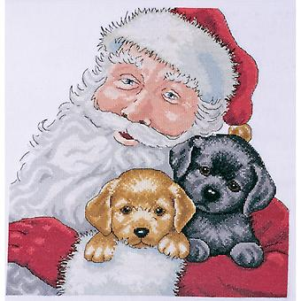 Santa With Puppies Counted Cross Stitch Kit-13