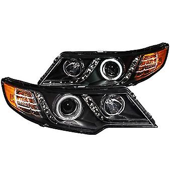 Anzo USA 121413 Black Halo Projector Headlight with Clear Lens and Amber Reflector for Kia Forte