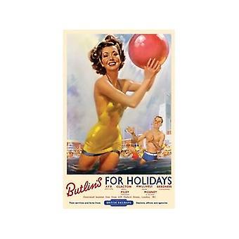 Butlins para vacaciones (antiguo ferrocarril Ad.) Letrero de metal