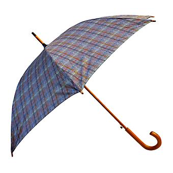Tweed Check Print Brown Straight Umbrella