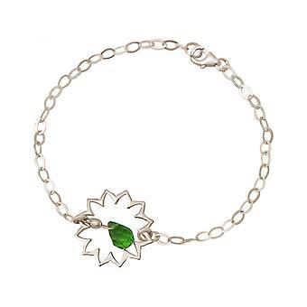 Damen - Armband - 925 Silber - Mandala - Turmalin Quarz - Tropfen - Grün - YOGA