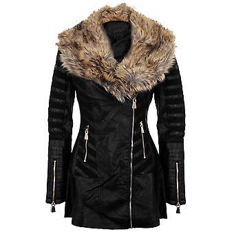 Mesdames simili cuir PVC collier Mesh Insert PU Long à capuche manteau veste de fourrure
