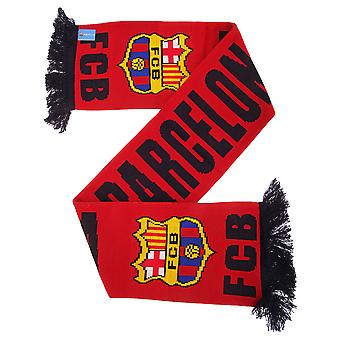 FC Barcelona Official Knitted Football Crest Wordmark Scarf