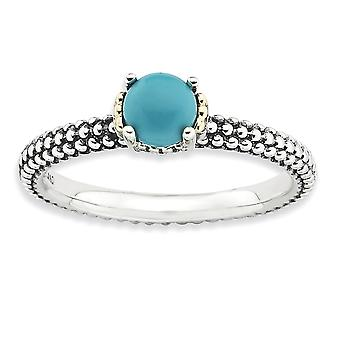 2.5mm 925 Sterling Silver Polished Prong set Antique finish and 14k Stackable Expressions Simulated Turquoise Antiqued R