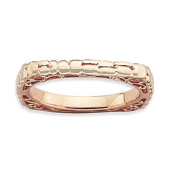2.25mm Sterling Silver Patterned Stackable Expressions Polished Pink-plate Square Ring - Ring Size: 5 to 9