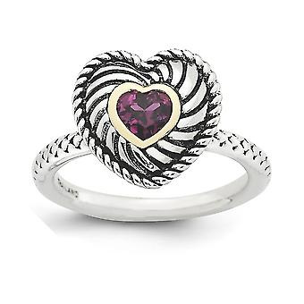 2.5mm 925 Sterling Silver Bezel Polished Antique finish and 14k Stackable Expressions Rhod. Garnet Antiqued Ring - Ring