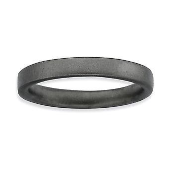 Sterlingsilber Ruthenium-Beschichtung stapelbar Ausdrücke schwarz verchromte Satin Ring - Ring-Größe: 5 bis 10