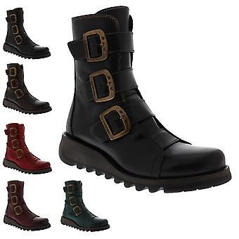 Womens Fly London Scop Rug Leather Biker Winter Wedge Heel Ankle Boots
