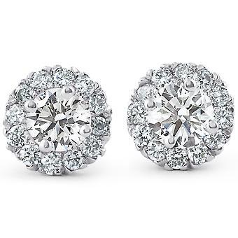 7/8ct Halo Diamond Studs 14k White Gold
