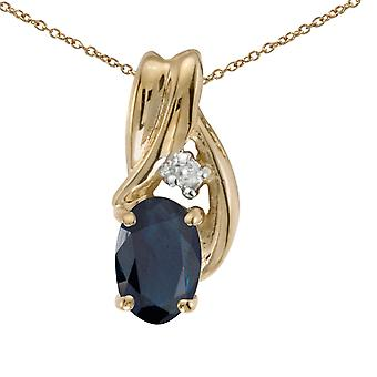 10k Yellow Gold Oval Sapphire And Diamond Pendant with 16