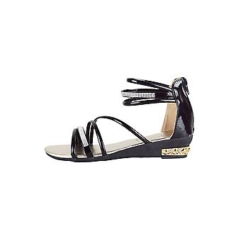 LMS Black Multi Strap Flat Sandal With Diamante Detail