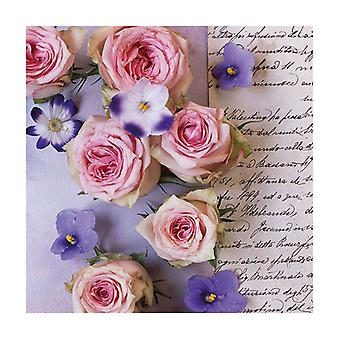 Ambiente 3 Ply Paper Lunch Napkins, Roses & Violets