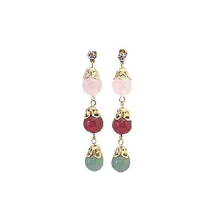 Sophisticated Earrings Stone Beads Jade Rose Quartz & Ruby Stone Bead
