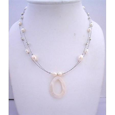 Cream Shell Pendant Freshwater Pearls Double Stranded Wire Necklace