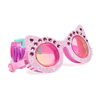 Girls fun cat shaped pink sparkly swimming goggles