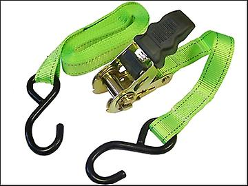 Faithfull Ratchet Tie Downs (2) 5m x 25mm Breaking Strain 818kg