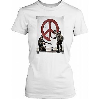 Banksy - Soldiers Painting Peace - Urban Artist Ladies T Shirt