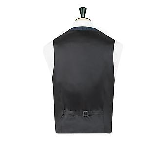 Harris Tweed Mens Blue & Black Herringbone Tweed Waistcoat Regular Fit 5 Button