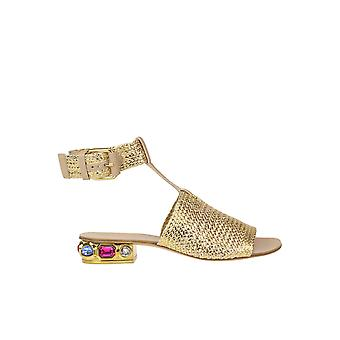 Casadei Gold Leather Sandals