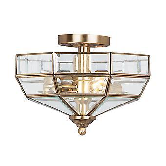 Elstead-2 lumière semi Flush plafonnier en laiton antique-OLD PARK AB