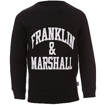 Infant Boys Franklin And Marshall Logo Crew Sweat In Black- Crew Neck