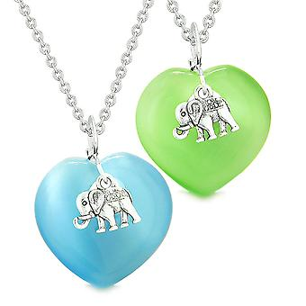 Lucky Elephant Charms Love Couples Best Friends Amulets Sky Blue Neon Green Simulated Cats Eye Necklaces