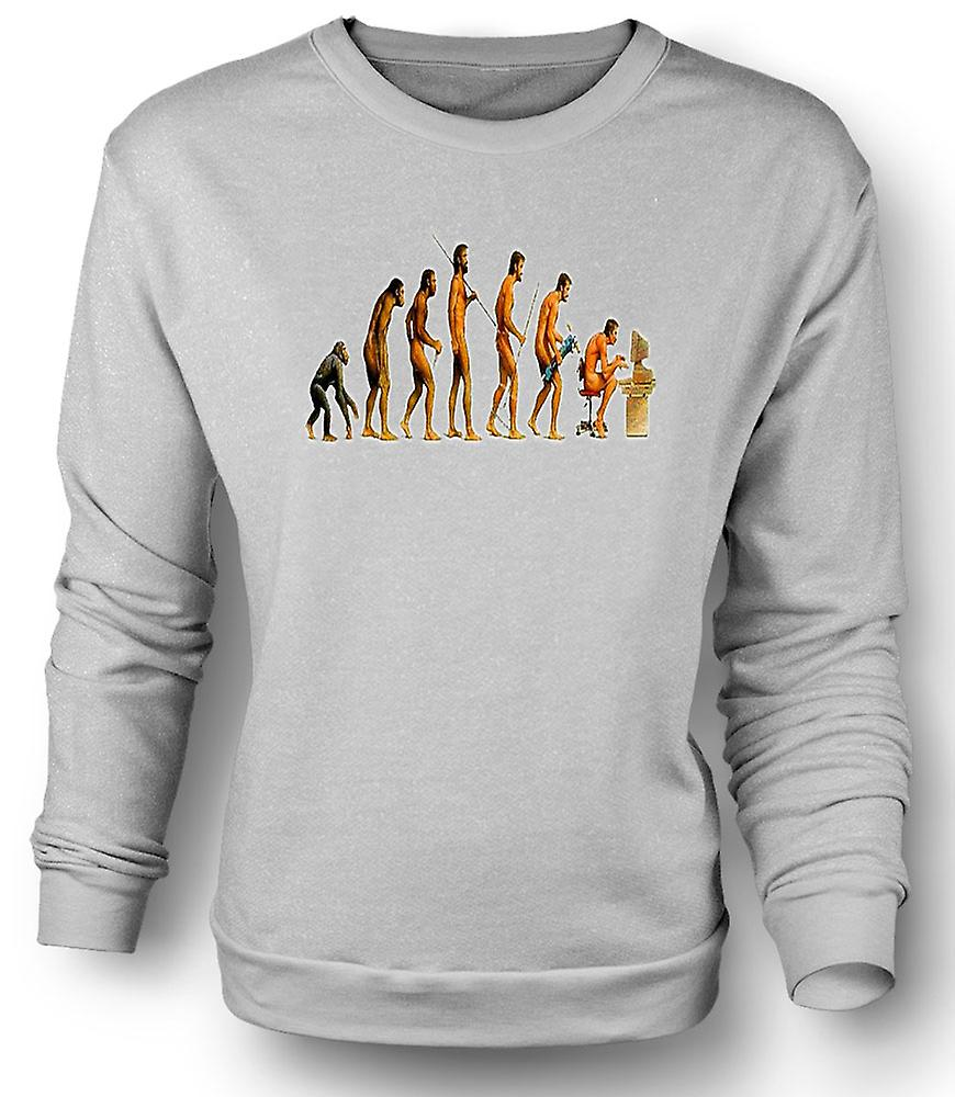 Mens Sweatshirt Mans Evolution - rolig