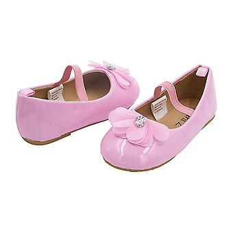 Sara Z Toddler Ballet Flat Patent Slip On Adorned with Chiffon Flower with Rhinestone