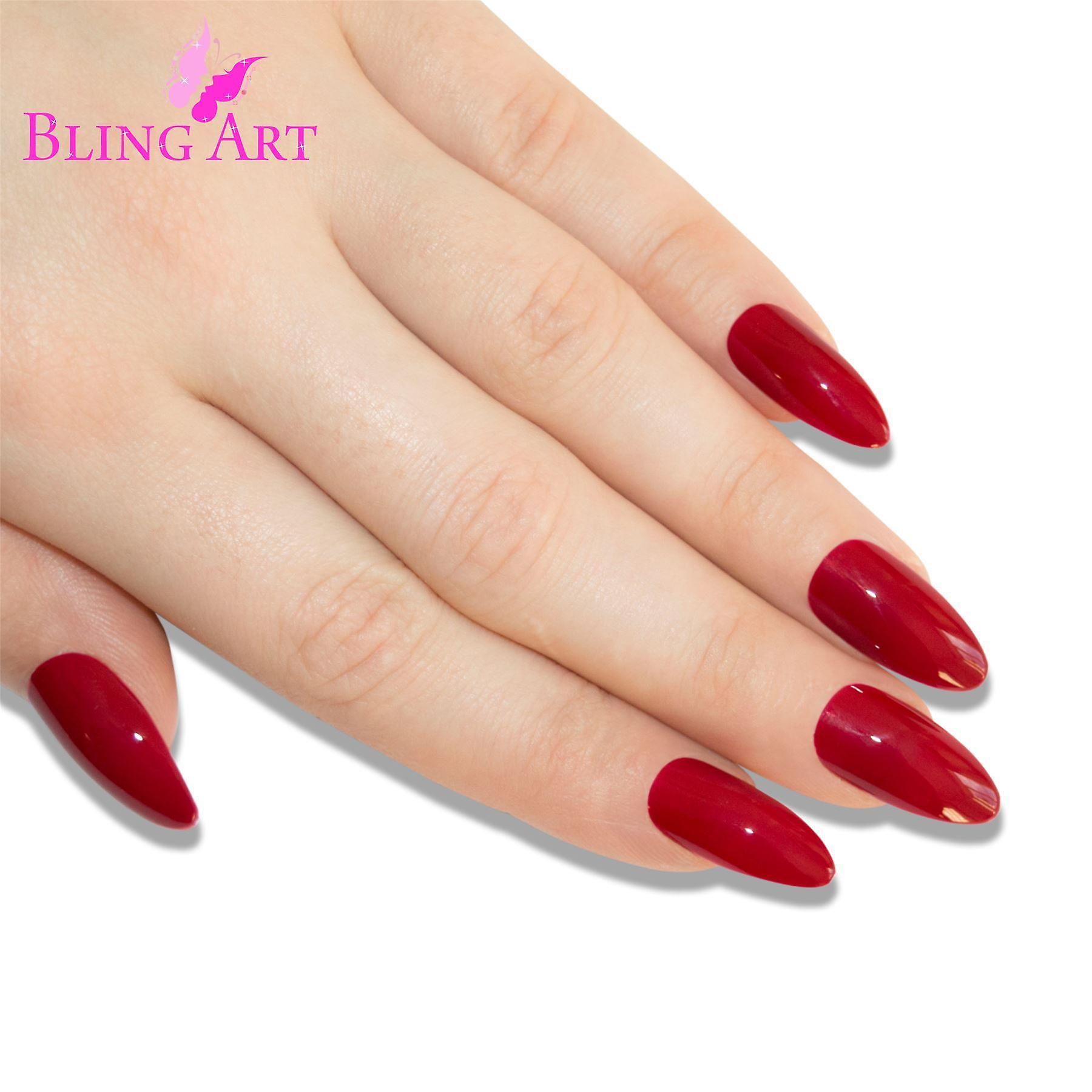 False nails bling art red polished almond stiletto long fake acrylic tips & glue