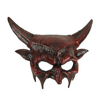 Masque de diable à cornes Dark Demon Halloween adulte rouge