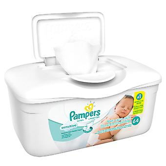 Pampers sensitive wipes, tub, 64 ea
