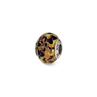 925 Sterling Silver Antique finish Italian Murano Glass Reflections Yellow Gold Black Italian Murano Bead Charm
