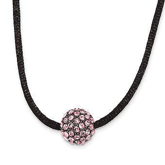 Black Plating Fancy Lobster Closure Black-plated Pink Crystal Fireball 16 Inch With ext Satin Cord Necklace
